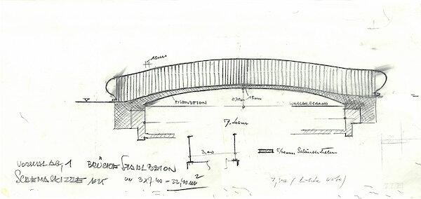 Entwurfsskizze Betonbrücke Doblhoff-Park Baden, Viktor Mödlhammer 1960–1969, LArchiv